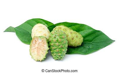 exoticas, fruta, -, Noni, com, folha, ligado, branca, fundo,...