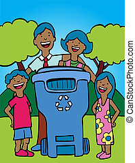 recycling bin family ethnic in a hand drawn style.