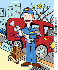 Repairman cartoon in a hand drawn style.