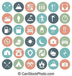 Camping icons set - Camping and hiking icons set in flat...