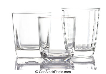 Empty drinking glass cup on white background.