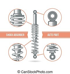 Car shock absorber icon. Color print on a white background