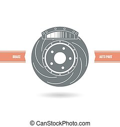 Car brake pads and discs icon Color print on a white...