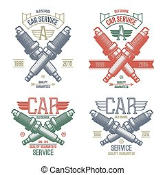 Car service spark-plug emblems in retro style. Graphic...