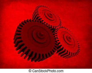 grunge gears - 3d rendered illustration of gears on a grunge...