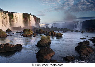 Iguassu falls - Waterfalls in Iguassu between Brazil and...