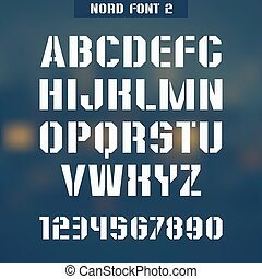 Nord font 2 - Stencil-plate font and numeral on blurred...