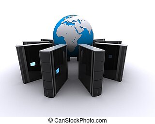server - 3d rendered illustration of server around a globe