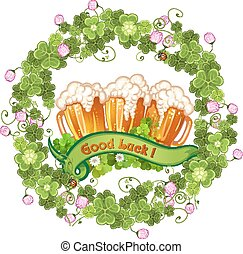 Clover and beer for Saint Patrick's