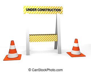 under construction - 3d rendered illustration of traffic...