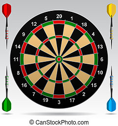Darts - Dartboard with darts. Vector Illustration. Contain...