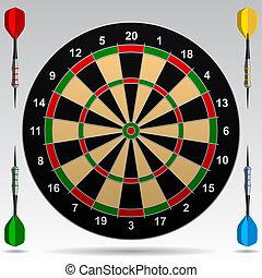Darts - Dartboard with darts. Vector Illustration. Contain...