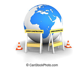 under construction - 3d rendered illustration of a globe,...
