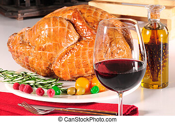Christmas and thanksgiving dinner - Roasted turkey with red...
