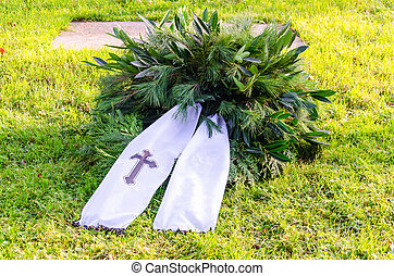 Wreath with banners, Copy Space - Wreath with banner and...