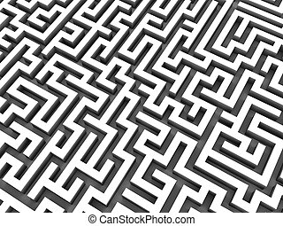 3d maze - 3d rendered illustration of a silver maze