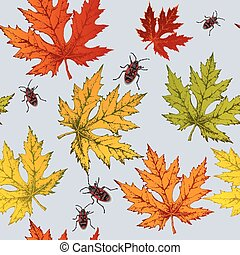 Seamless wallpaper with autumn maple leaves and red beetles,...