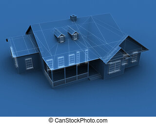 blue print house - 3d rendered illustration of a house