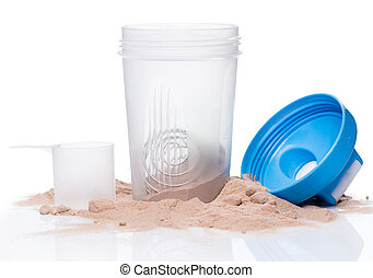 Shaker and protein powder on white background