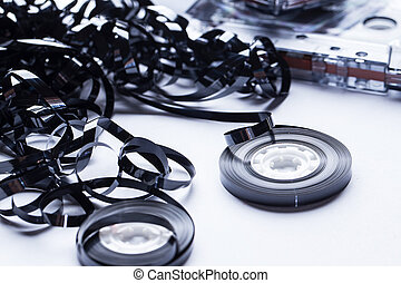 Magnetic audio tape reel - Close up of magnetic audio tape...