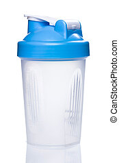 Empty protein shaker on white background