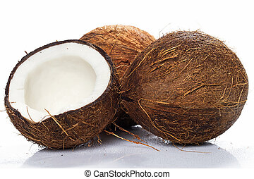 Coconuts on white background - Fresh coconuts on white...