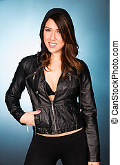 Hip Smiling Young Adult Woman Wearing Leather Jacket Hooded