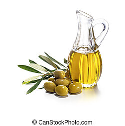 Olive oil and olive branch on white background