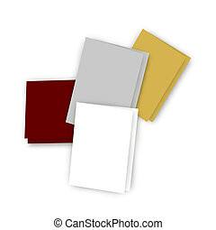 Scattered Greeting Cards on White - Illustration of five...