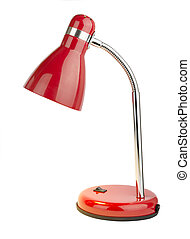 Desk lamp - Red desk lamp isolated on white background with...
