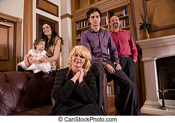 Portrait of multi-generation family at home - Portrait of...