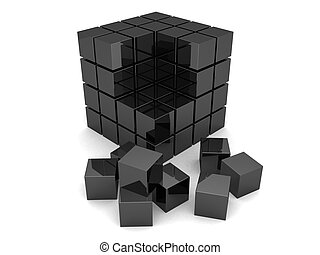 black cubes - 3d rendered illustration of many little cubes
