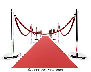 red carpet - 3d rendered illustration of barriers on a red...