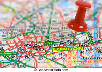 Street Map of London with red pin
