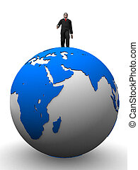 man on globe