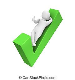 Man laying on check mark 3d rendered illustration