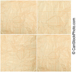 Old vintage discolored dirty graph paper Blank millimeter...