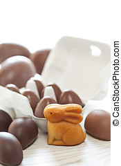Easter chocolate eggs and bunny sweets decoration