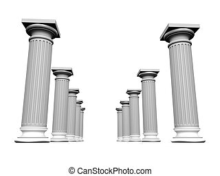 3d column - 3d rendered illustration of  white column