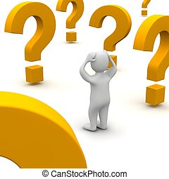 Confused man and question marks. 3d rendered illustration.