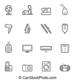 Set of home appliances icon set - Set of vector home...