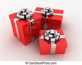 red gifts - 3d rendered illustration of red presents