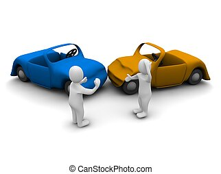 Car accident 3d rendered illustration isolated on white
