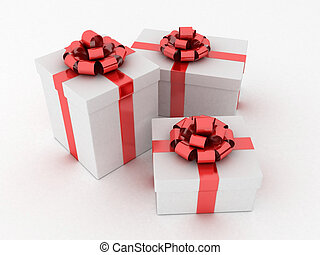 white gifts - 3d rendered illustration of white presents