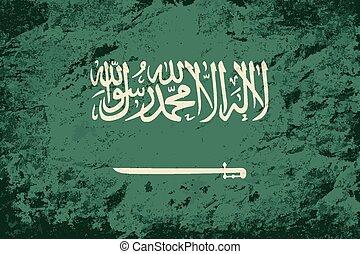Saudi Arabian flag Grunge background Vector illustration