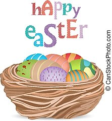 happy easter with basket of eggs