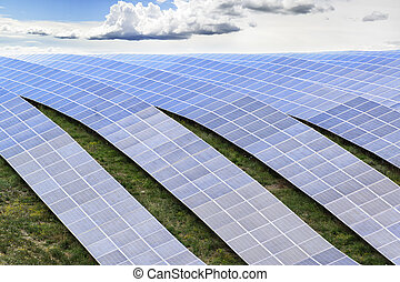 Solar station background - Lines of solar panels against...