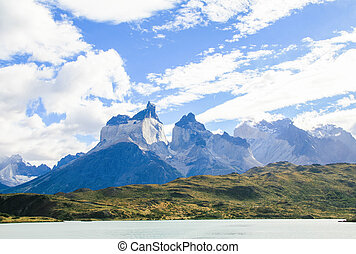 Lake Pehoe and Los Cuernos in Torres del Paine National Park...