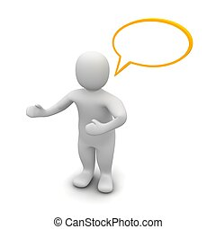 Man with empty speech bubble 3d rendered illustration