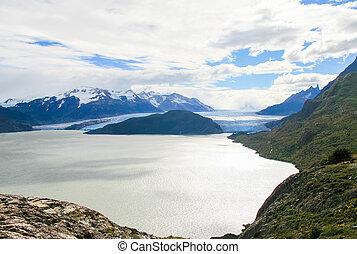 Glacier in Torres del Paine National Park in Patagonia,...